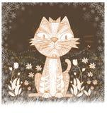 Cat cartoon art abstract brown color design Stock Photo