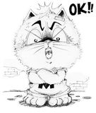 Cat cartoon he is boss and answer OK Stock Photo