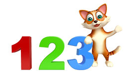 Cat cartoon character cat cartoon character with 123 sign. 3d rendered illustration of cat cartoon character with 123 sign Stock Photo