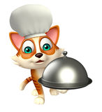 Cat cartoon character with chef hat and cloche Stock Photo