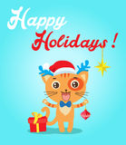 Cat Cartoon Character For Christmas Vector Cards And Banners. Funny Kitty With Gifts And Christmas Ball In Flat Style. Royalty Free Stock Photography