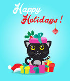 Cat Cartoon Character For Christmas Vector Cards And Banners. Funny Kitty With Gifts And Christmas Ball In Flat Style. Stock Photo