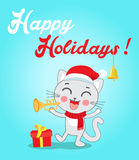 Cat Cartoon Character For Christmas Vector Cards And Banners. Funny Kitty With Trumpet And Christmas Hat In Flat Style. Royalty Free Stock Images