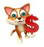 Cat cartoon character with doller sign Stock Photos