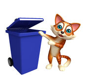 Cat cartoon character with dustbin Stock Image