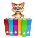 Cat cartoon character with files Stock Photos