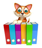 Cat cartoon character with files Royalty Free Stock Photos