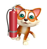 Cat cartoon character  with fire extinguisher. 3d rendered illustration of cat cartoon character with fire extinguisher Royalty Free Stock Photos