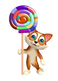 Cat cartoon character with lollypop Stock Photos