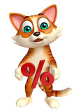 Cat cartoon character with percentage sign Stock Image
