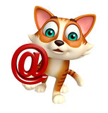 Cat cartoon character with at the rate sign Royalty Free Stock Photography
