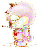 Cat cartoon cute to pointing pencil color. Cat cartoon to complaining and pointing someone and his tail is falling to pointing the same his finger, Character Royalty Free Stock Photos