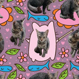Cat cartoon draw seamless pattern. Illustration wild cat tail cute image cartoon drawing seamless pattern pink love purple background graphic Royalty Free Stock Images