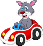 Cat cartoon driving car. Illustration of Cat cartoon driving car Stock Photo