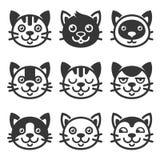 Cat Cartoon Face Icon Set Vector ilustración del vector