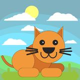 Cat in cartoon flat style on the background of meadows, sun and clouds vector illustration