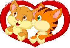 Cat cartoon in love Royalty Free Stock Image