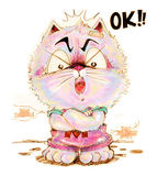 Cat cartoon pencil color he answer OK Royalty Free Stock Images