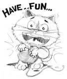 Cat cartoon playing yarn have fun Royalty Free Stock Photo