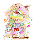 Cat cartoon singing and dancing pencil color Stock Photography