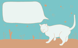 Cat Cartoon With Textbox. Copy space blackground Royalty Free Stock Photo