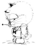 Cat cartoon to complaining and pointing someone. And his tail is falling to pointing the same his finger, Character pencil sketch design black and white Royalty Free Stock Photo