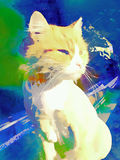 Cat drawing. Cartoon cat in a watercolor style royalty free stock photo