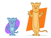 Cat Cartoons. Short and Tall cat characters Royalty Free Stock Images