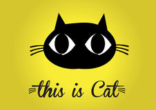 This is cat, cat vector, cute cat colorful. yellow background Royalty Free Stock Photography