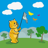 Cat is catching butterflies vector illustration. Royalty Free Stock Photos
