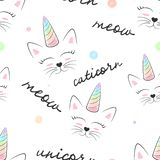 Cat, caticorn, unicorn - seamless textile pattern.