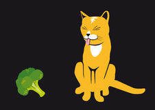 Cat with tongue. Rusty cat on a black background. Cats do not like broccoli. Cat with tongue out. Funny vector illustration. Black background with cat. Broccoli Royalty Free Stock Photography
