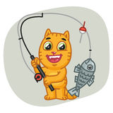 Cat Caught Big Fish on Fishing Rod. Vector Illustration, Cat Caught Big Fish on Fishing Rod, Format EPS 8 Stock Photo