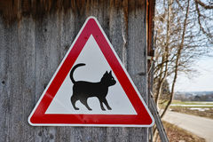 Cat caution signpost in rural area Royalty Free Stock Images