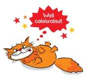 Cat celebrated. Vector illustration - funny cat celebrated holiday vector illustration