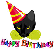 Cat in a celebratory cap. A black cat in a celebratory cap with the words Happy Birthday Royalty Free Stock Images