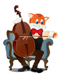 Cat with a cello. Cat plays the cello.He sits in his chair, white background Stock Photos