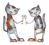 Cat and champagne. Party illustration. royalty free illustration