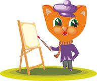 Cat Character Artist 2. Cat clothing artist with paints and brush in hand in cartoon style on white background Stock Photography