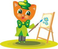 Cat Character Artist 3. Cat clothing artist with paints and brush in hand in cartoon style on white background Stock Photos