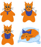 Cat character, comics series. One cat character in various stories. Vector comics hero Royalty Free Stock Images