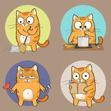 Cat Character. Cute Cat Character doing different housework. Vector illustration Stock Photography