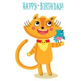Cat Character Greetings Card mignonne Carte de voeux drôle d'anniversaire illustration libre de droits