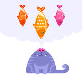 Cat character looking up to fish dream Stock Images