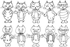Cat character and pig character. Royalty Free Stock Image