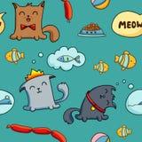 Cat character seamless pattern Stock Image