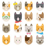 Cat Characters Set. Illustration of cats in different colors and patterns Royalty Free Stock Photos