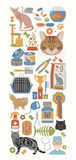 Cat characters and vet care icon set flat style. Banner Royalty Free Stock Photography