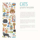 Cat characters and vet care icon set flat style. Graphic templat Stock Image
