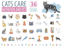 Cat characters and vet care icon set flat style Stock Photo